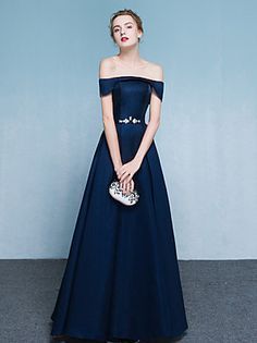 A-Line Off Shoulder Floor Length Satin Formal Evening Dress with Beading c7dc0b8fd9e
