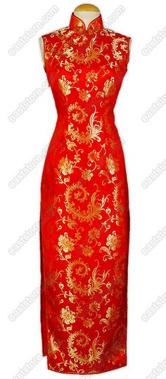 Full of traditional taste, this Jubilant Phoenix Tail Brocade Cheongsam is designed with gold...