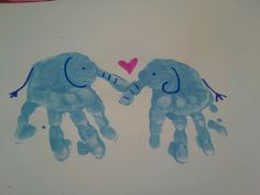 Elephant hand print love~toddlers art