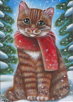 ORaNGe TaBBY CHRiSTMaS KiTTY ____Winter Christmas Painting