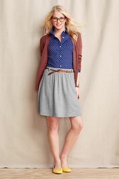 Women's Slub French Terry Skirt from Lands' End Canvas