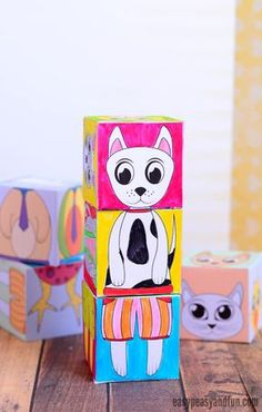 Animals Mix and Match Cubes Printable Paper Craft for Kids