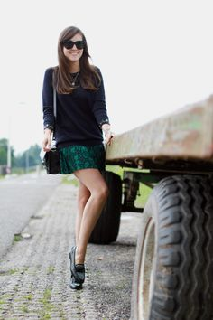 snake skin print mini skirt + sweater and loafers <3