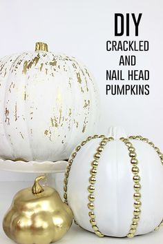 Click for tutorial - DIY Crackled and Studded Pumpkins - These are so cute for Fall, Halloween and Thanksgiving! - www.classyclutter.net