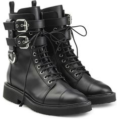 Giuseppe Zanotti Leather Combat Boots ($1,285) ❤ liked on Polyvore featuring shoes, boots, ankle booties, black, leather booties, leather boots, combat boots, black lace up booties and chunky black booties