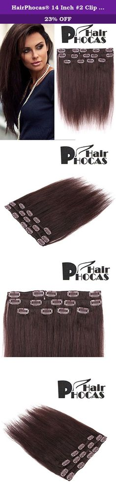 HairPhocas® 14 Inch #2 Clip in Remy Human Hair Extensions Black Brown Color Short Real Straight Sexy Fashion Hair Style for African American Women 7 Piece 60g. Clip In Hair Extensions offer versatility to the hair unlike any other hairstyle, and they have become a favorite among busy women who don't have much time to devote to styling. This type of hair extensions can be worn within minutes at home. Made of superior 100% remy hair, this amazing Human Hair Extensions can be straightened...