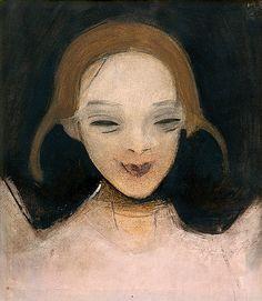Afbeelding van http://uploads6.wikiart.org/images/helene-schjerfbeck/smiling-girl-1921.jpg.