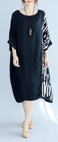 baggy black Midi-length cotton t shirt trendy plus size traveling clothing top quality batwing sleeve patchwork natural cotton pullover