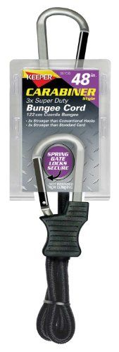 """Keeper 06158 48"""" Super Duty Bungee Cord with Carabiner Hook - Keeper award winning Carabiner Style Bungee Cords use an advanced carabiner hook design that is up to 3 times stronger than conventional bungee hooks. For added security, the hook includes a spring gate that keeps hook in place and will not come open accidentally. Heavy duty cord adds to the stre..."""