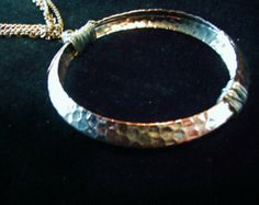 Wire Wrapped Hammered Metal Infinity Statement Necklace