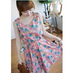 Pink Women Daisy Flowers MiNi Velvet Dresses One Size FZ70427p ($11) via Polyvore