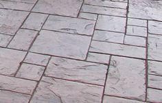 photo of Brickform Grand Ashlar Slate stamped concrete Diy Stamped Concrete, Stamped Concrete Patterns, Concrete Stamping, Flooring Options, Concrete Floors, Natural Texture, Landscape Design, Sidewalk, Solomon