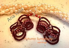 Autumn Symphony Ankars tatting lace earrings by AnaIuliaTattingLace on Etsy