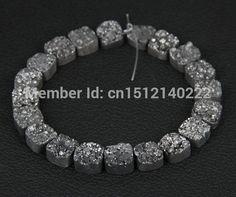 Aliexpress.com: Acheter 16 pcs brin de noir titane Drusy Agate perles, Naturel Druzy Agate perles pierre bijoux, Mode perles livraison gratuite 12 mm de rondelles perles fiable fournisseurs sur Guangzhou Welcomebeads Co.,Ltd