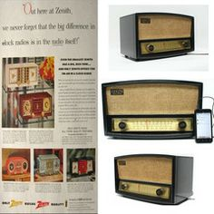 Vintage 1950s Zenith AM/FM Tube Table Top Radio and Ipod Android Mp3 Player Compatible