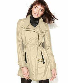 Calvin Klein Asymmetrical Belted Trench Coat - Coats - Women - Macy's