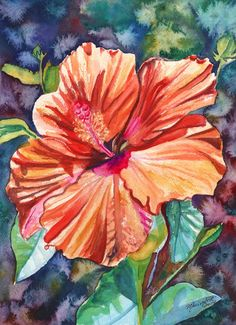 Original Watercolor Tropical Hibiscus 5  Painting by kauaiartist, $119.00