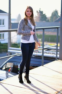 Bouclé Jacket by H&M, White Top, Dark Denim, Karen Millen Black Ankle Boots, Rebecca Minkoff Mini MAC in Nude - Window On My Wardrobe Blog