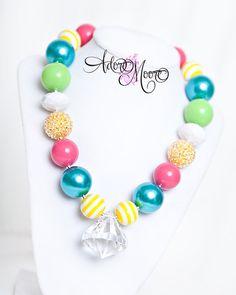 Summer Jewl, Kids Necklace, Chunky Necklace, Chunky Bead Necklace, Child Girls Necklace via Etsy (Diy Necklace Chunky) Chunky Bead Necklaces, Chunky Jewelry, Chunky Beads, Cool Necklaces, Girls Necklaces, Little Girl Jewelry, Kids Jewelry, Jewelry Crafts, Jewelry Making