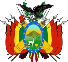The coat of arms of Bolivia has a central cartouche surrounded by Bolivian flags, muskets, laurel branches, and an Andean condor on top. The central cartouche has a border with 10 stars symbolizing 9 Departments and the former province Litoral taken over by Chile in 1879. Within the border the silver mountain Potosí is depicted, with the sun rising above it, and with an alpaca standing next to a palm tree and wheat. The alpaca is the national animal. (V)