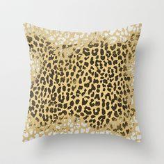 Golden Leopard Throw Pillow