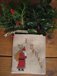 Christmas Primitive Cross Stitch Wall Hanging Pocket by twood59