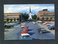 Postcard from Hamar, Norway in th 60's. Hamar domechurch in the middle.