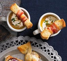 Butternut soup shots with crispy pancetta soldiers (passed Hors D'oeuvre) Christmas Canapes, Christmas Soup, Christmas 2016, Christmas Recipes, Tapas, Bbc Good Food Recipes, Cooking Recipes, Bbc Recipes, Party Recipes