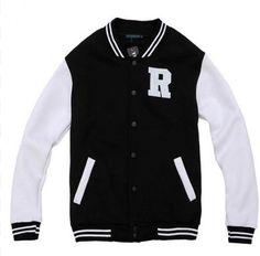 $67   Letter R Black and White Varsity Jackets For Girls