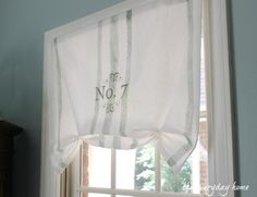 No-Sew French Grain Sack Painted Window Treatment from The Everyday Home