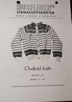 Vestfold-kofte 101 Tapestry Weaving, Embroidery Patterns, Knitwear, Men Sweater, Colours, Garden, Crafts, Fashion, Needlepoint Patterns