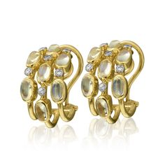 18K Gold Moonstone and Diamond Hoop Earrings Designed By The Mazza Company