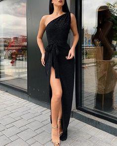 chicme / Glitter One Shoulder Thigh Slit Evening Dress - Other - Summer Dress Outfits Winter Dresses, Evening Dresses, Prom Dresses, Formal Dresses, Bridesmaid Dresses, Chiffon Dresses, Long Dresses, Wedding Dresses, Dress Outfits