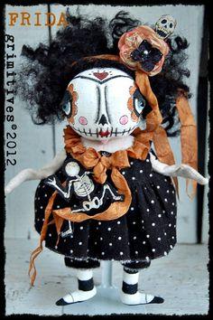 Primitive Skeleton Day of the Dead Halloween Folk Art Frida Doll. $85.00, via Etsy.