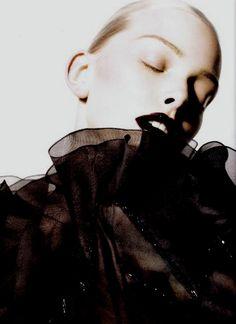 Tanya Dziahileva by Liz Collins, Numero Tokyo White Editorial, Editorial Fashion, High Fashion Photography, Beauty Photography, Dark Fashion, Love Fashion, Tanya Dziahileva, Dark Lips, Romanticism