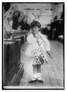 "Tsarevich Alexei Nikolaevich Romanov (1904-1918) Russia the 5th child & only son of Nicholas II (Nikolay Alexandrovich Romanov) (1868-1918) Russia & Tsarina Alexandra Feodorovna ""Alix"" (1872-1918) Hesse by Czarewitch, 1909."