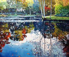 Ewa Adams Autumn Evening Reflections Acrylic on Canvas  100 x 120 cm  £ 5,500…