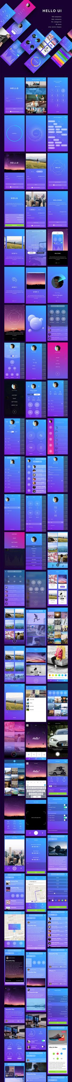 Hello UI Kit by Yuriy Kondratkov on Creative and professional Ui App Design Kit Template Inspiration. To inspire your next creative application designs for Photoshop, Sketch and Adobe Experience with flat modern, clean, creative design layout standards. Mobile App Design, Mobile Ui, Application Ui Design, Application Mobile, App Ui Design, User Interface Design, Ui Kit, Wireframe, Ui Ux Designer