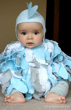 DIY Easy No-Sew Baby Chicken Halloween Costume.  I used clothes we already had and this cost under 2 dollars to make.  And took less than 2 hours!  From Fun at Home with Kids