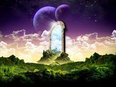 The Portal into Sky - Fantasy, Portal, Sky Portal, two moons Fantasy Garden, 3d Fantasy, Fantasy Landscape, Fantasy World, Dream Fantasy, 3d Landscape, Spring Landscape, Landscape Artwork, Scenery Wallpaper