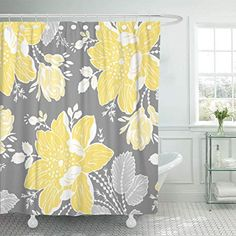 Purchase Chic Yellow Gray White Sophisticated Contemporary Preppy Bold Bathroom Decor Bath Shower Curtain inch from Wallis Flora on OpenSky. Peacock Shower Curtain, Yellow Shower Curtains, Flower Shower Curtain, Cool Shower Curtains, Grey Curtains, Shower Curtain Sets, Contemporary Shower, Bathroom Color Schemes, Yellow Bathrooms