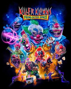John's Horror Corner: Killer Klowns from Outer Space in-your-face goofy shenanigans veiled in murderous menace with fantastic creature effects! Classic Horror Movies, Iconic Movies, Horror Movie Posters, Horror Films, Funny Horror, Space Movies, Horror Artwork, Evil Clowns, Vintage Horror