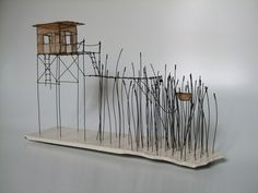 Isabelle Bonte, cabane du lac 04, fil de fer et tarlatane teintee et ceramique, H21 x L 35.5 x 12.5, more art: www.kirstenlovesart.com