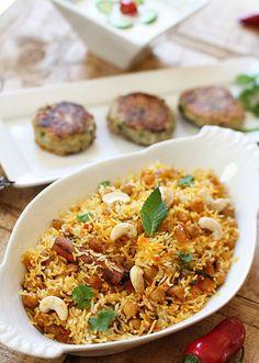 Spicy Chickpea Biryani with Cummin & Coriander Potato Kebabs