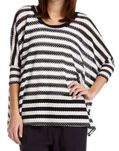 Super Comfy Karen Kane Black and White Striped Tunic! #Karen_Kane #KarenKane #Black_and_White #Stripes #Tunic #Spring #Summer #Nautical #Fashion