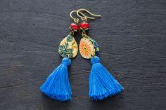 Teardrop Blue Tassel Earrings with Red Czech by MusingTreeStudios