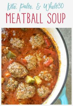 This keto. This keto meatball soup is easy to prepare, hearty, and loaded with fresh veggies and flavor. Best of all, the meatballs can be made ahead of time and it freezes nicely. Low Carb Recipes, Cooking Recipes, Low Carb Soups, Paleo Keto Recipes, Whole30 Soup Recipes, Paleo Diet, Low Carb Taco Soup, Low Carb Chili, Cheap Recipes