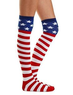 Patriotic Red White Blue Made In the USA Knee High Socks NWT Shoe size 4-10