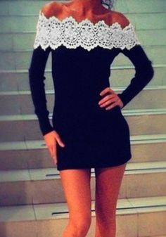 Off-Shoulder Lace Dress- Above the Knee Dress