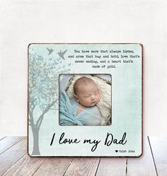 I Love My Dad Picture Frame For Gift From Son New Daddy Fathers Day Father